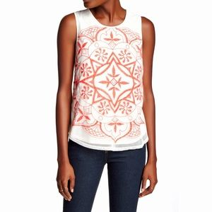 Lucky Brand Tops - Lucky Brand embroidered mesh front cream tank top